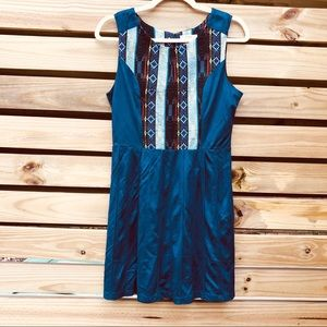 Esley Blue Dress, Aztec Embroidery, Fit & Flare